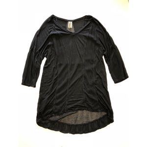 XCVI black tunic mesh long sleeve sz XL